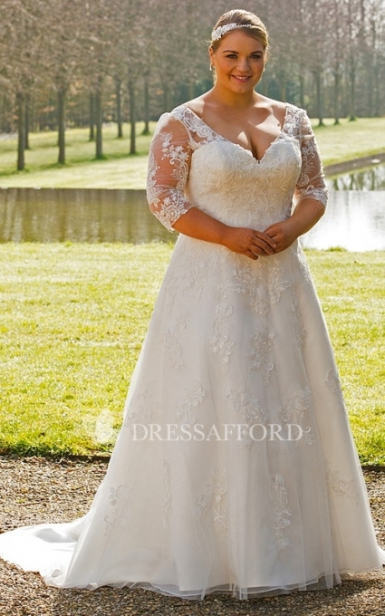 Plunged Illusion 3 4 Sleeve Plus Size Wedding Dress With Corset Back With Plus Size Wedding Dresses With Sleeves