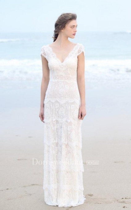 Plunged Sheath Cap Sleeve Tired Boho Style Wedding Dress And Deep V In Lovely Bohemian Style Wedding Dresses Ty4