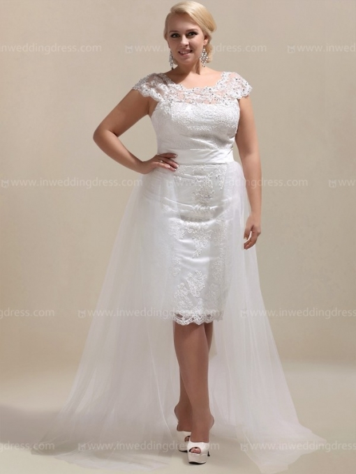 Plus Wedding Dress With Tulle Overlay $233 Throughout Plus Size Casual Wedding Dresses