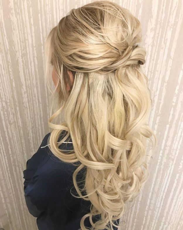 Pretty Half Up Half Down Wedding Hairstyle – Partial Updo Bridal Intended For Fresh Wedding Half Up Half Down Hair Klp8