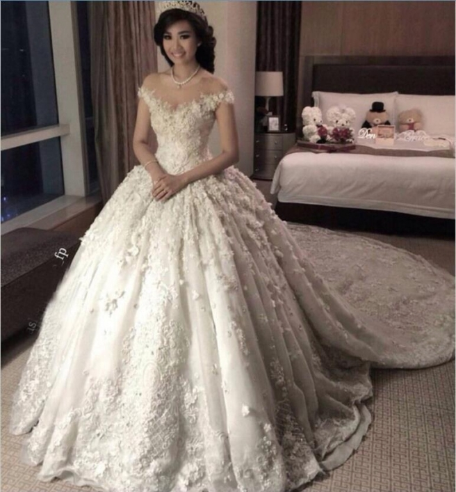 Princess 2018 Full Lace Wedding Dresses Sheer Jewel Neck Cap Sleeves Inside Princess Wedding Dresses