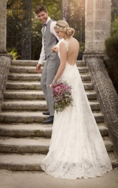 Romantic Backless Fit And Flare Ivory Lace Wedding Dress With Throughout Lace Backless Wedding Dress