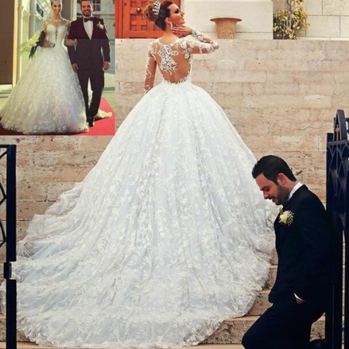 See Through Sleeves Wedding Dress ,long Lace Wedding Dress,charming Inside Custom Wedding Dress
