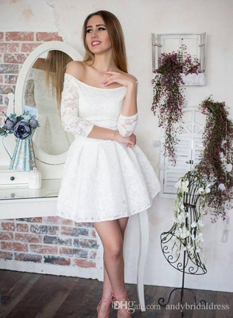 Sexy Off Shoulder Lace Short Wedding Dresses With Sleeves A Line with regard to Luxury Short Wedding Dresses With Sleeves kc3