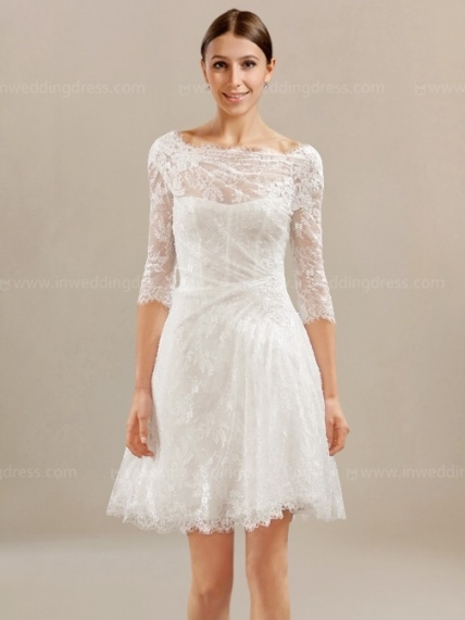 Short Lace Wedding Dress With Sleeves $238 In Short Wedding Dresses With Sleeves