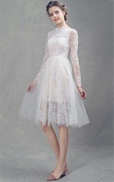 Short Length Wedding Gowns With Sleeve, Mini Length Sleeves Bridals Within Short Wedding Dresses With Sleeves