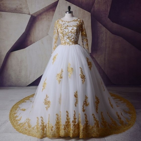 Sparkly White Gold Wedding Dresses 2017 Scoop Neck Shoulders Long With White And Gold Wedding Dress