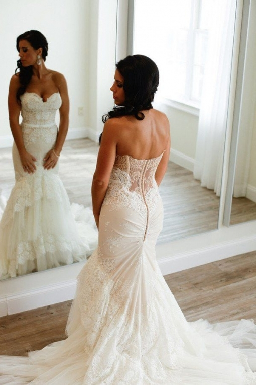 Strapless Wedding Dress,lace Wedding Dress,wedding Dress For Curvy With Regard To Awesome Strapless Wedding Dresses Df9