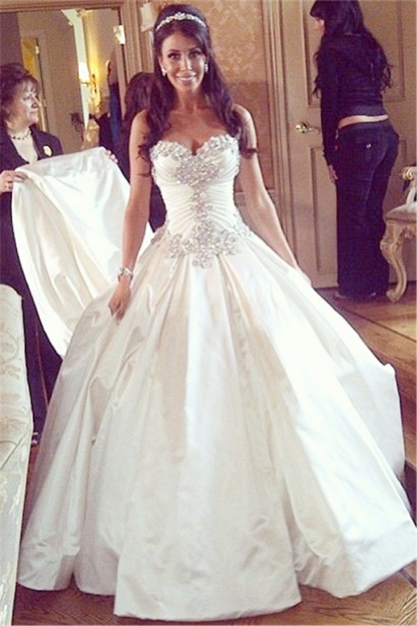 Sweetheart Ball Gown Plus Size Wedding Dresses Crystals Beads Chapel For Best Of Princess Wedding Dresses Kls7