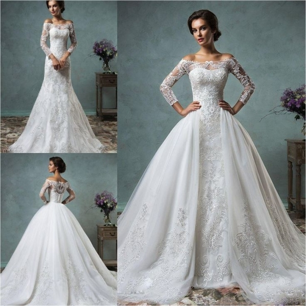 Top 19 Convertible Mermaid Wedding Dress With Detachable Skirt Pertaining To Awesome Detachable Wedding Dress Jk4