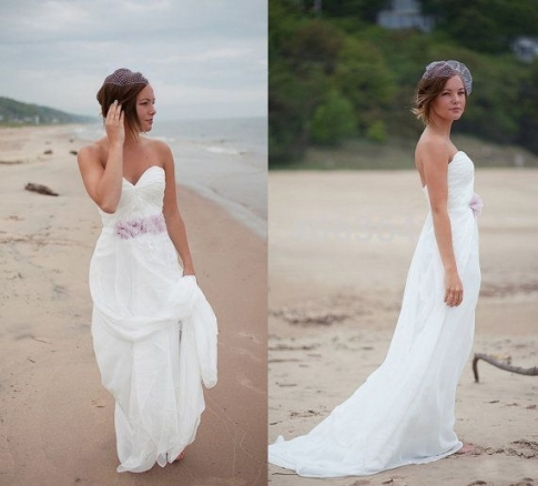 V 2015 Summer Sweetheart Flowers Casual Chiffon Beach Wedding With Regard To Casual Beach Wedding Dresses
