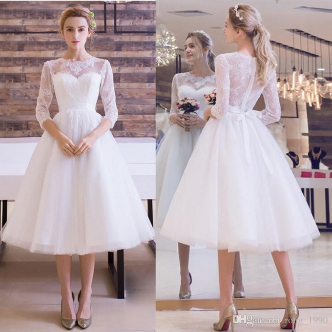 Vintage 1950's Short Beach Wedding Dresses 2018 Appliques Lace A Regarding 1950S Wedding Dresses