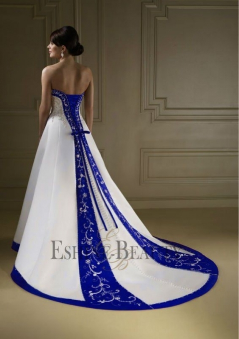 Vintage A Line Royal Blue And White Wedding Dresses (Marine Wedding Intended For Unique Royal Blue Wedding Dresses Kc3