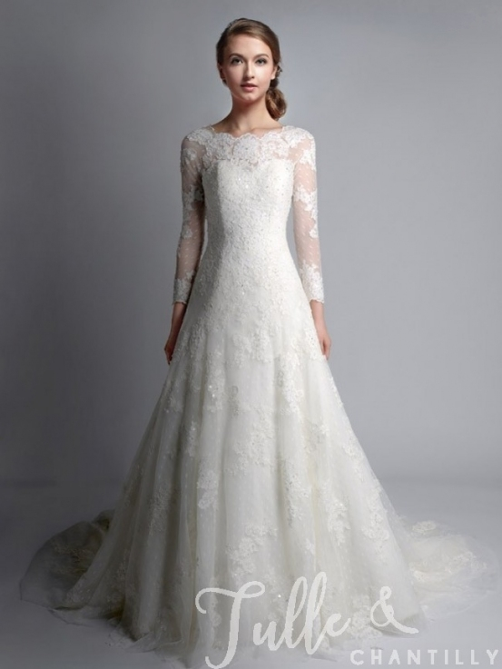 Vintage Bateau Neck Long Sleeves Lace Wedding Gown Tbqwc024 Intended For Vintage Lace Wedding Dresses