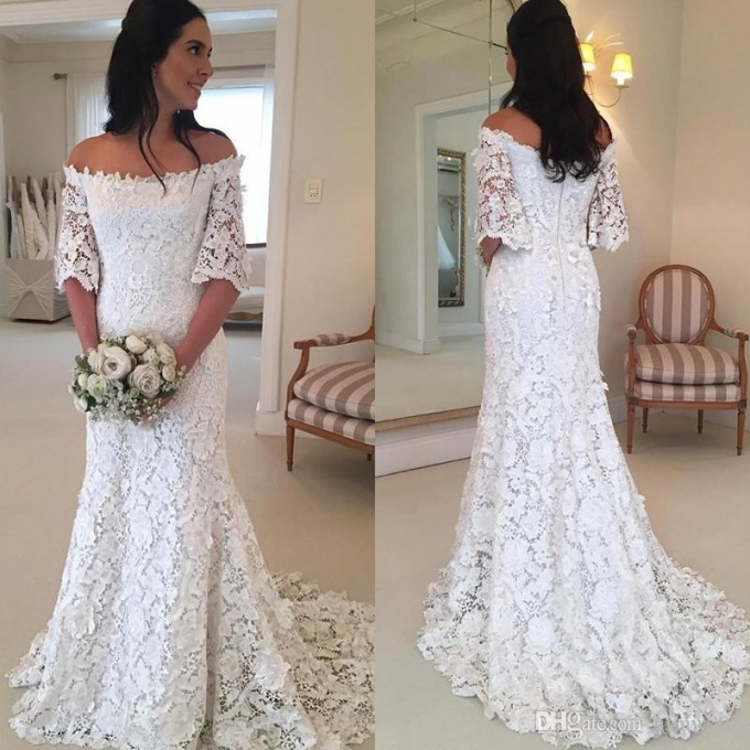 Vintage Bohemian A Line Beach Wedding Dresses 2018 Off The Shoulder Intended For Lovely Bohemian Style Wedding Dresses Ty4