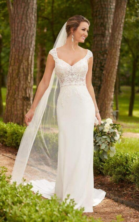 Unique Cap Sleeve Wedding Dress kc3
