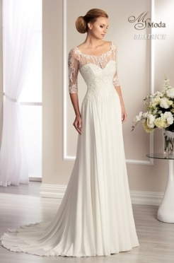 Elegant 3 4 Sleeve Wedding Dress df9