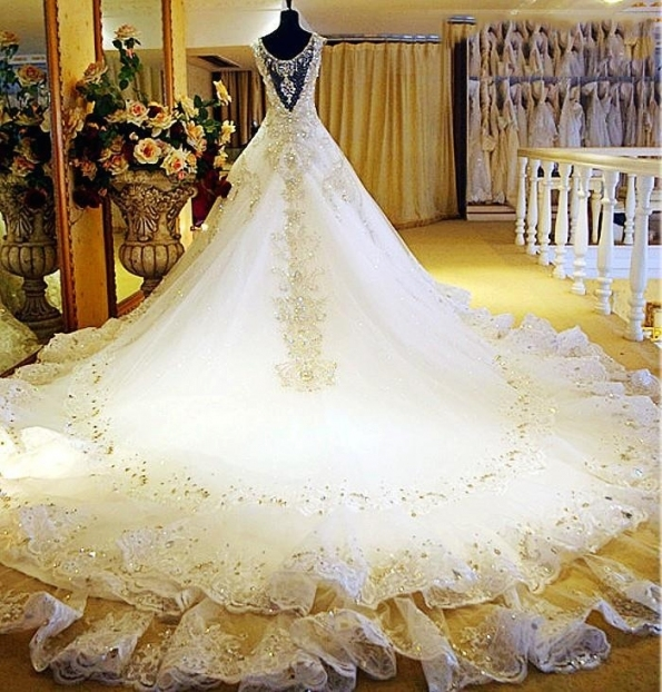 White Gold Wedding Dresses 2017 Dubai Wedding Gowns Crystal Beaded Inside White And Gold Wedding Dress