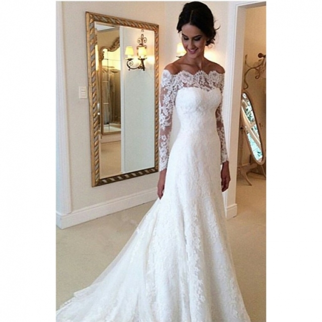 White Off The Shoulder Lace Long Sleeve Bridal Gowns Cheap Simple Throughout Unique Wedding Dresses For Cheap Jk4