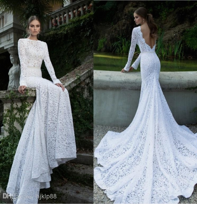 White Vintage Lace Bateau Ribbon Backless Mermaid Berta Bridal With Lovely Vintage Lace Wedding Dresses Jk4