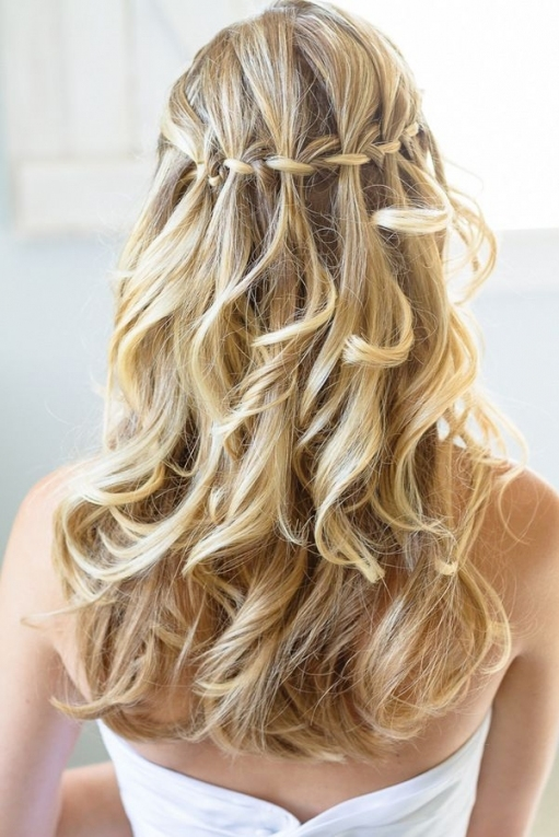 15 Stunning Waterfall Braids   Pretty Designs Inside Waterfall Braid Wedding Hair