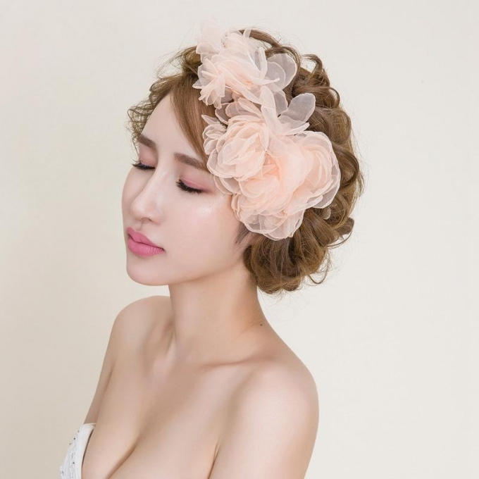 2016 Blus Wedding Hair Flowers Cheap Modest Hair Accessories For With Sexy Wedding Hair