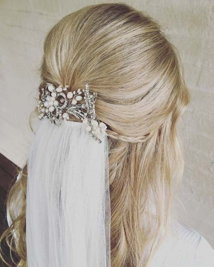 23 Gorgeous Half Up Wedding Hair Ideas   Stayglam Pertaining To Wedding Hair Half Up With Veil