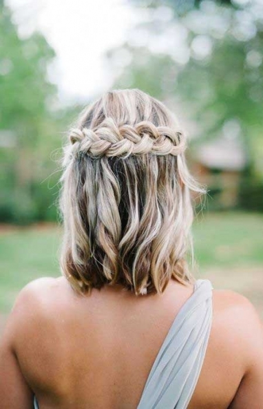 25 Best Wedding Hairstyles For Short Hair Braid Pertaining To Waterfall Braid Wedding Hair