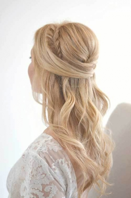 25 Elegant Half Updo Wedding Hairstyles   Crazyforus With Half Updos For Long Hair Wedding