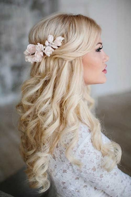 25 Elegant Half Updo Wedding Hairstyles | Wedding | Pinterest With Half Updos For Long Hair Wedding
