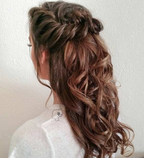 31 Half Up, Half Down Hairstyles For Bridesmaids | Stayglam Throughout Awesome Half Updos For Long Hair Wedding Kc3