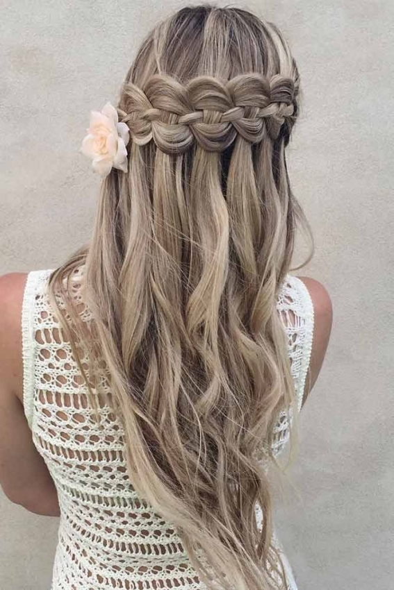 33 Romantic Looks With A Waterfall Braid | Hair | Pinterest Throughout Waterfall Braid Wedding Hair