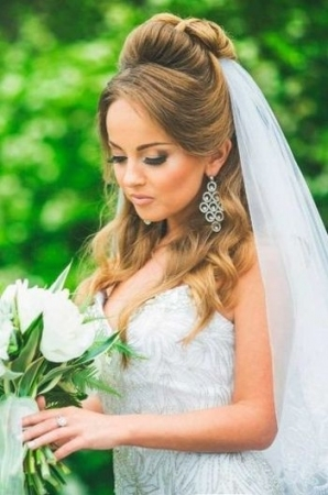 37 Half Up Half Down Wedding Hairstyles Anyone Would Love With Regard To Elegant Wedding Hair Half Up With Veil Sf8