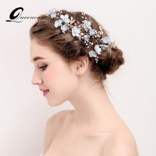 4 Pcs Wedding Hair Comb&hair Pin Blue Flower Gold Leaf Hair Clip in Wedding Hair Clips And Combs