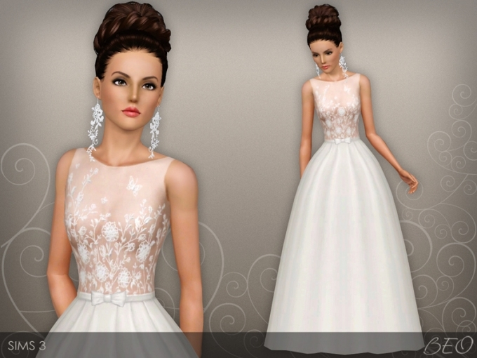 Beo's Wedding Dress 46 Within Sims 3 Wedding Hair