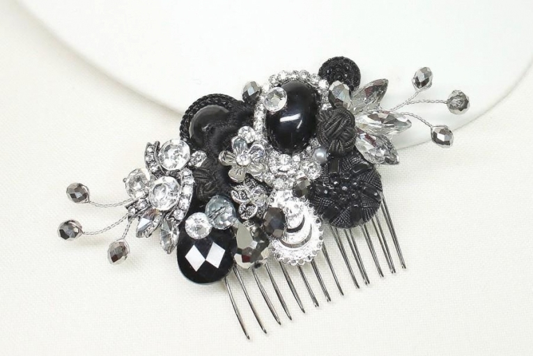 Black Rhinestone Hair Comb Black Hair Clip Black Hair Accessories Regarding New Wedding Hair Clips And Combs Ty4