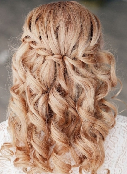 Braided Wedding Hairstyles - Waterfall Braid Wedding Hairstyle inside Waterfall Braid Wedding Hair