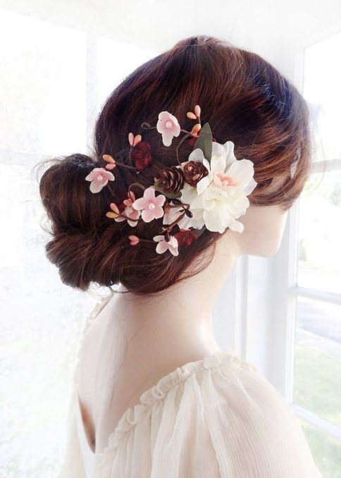Bridal Hair Clip Flower, Wedding Hair Accessories, Burgundy Wedding regarding Wedding Hair Clips And Combs