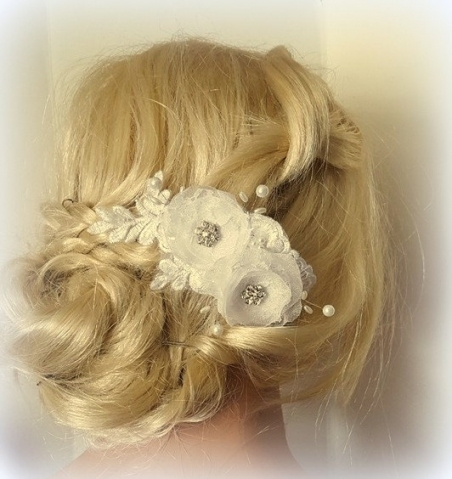 Bridal Hair Comb, Chiffon Floral Hair Clip,wedding Fascinator, Lace Intended For New Wedding Hair Clips And Combs Ty4