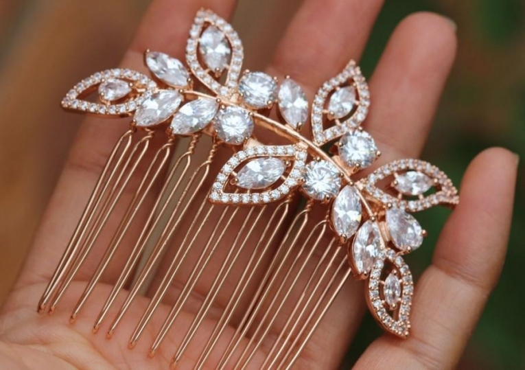 Bridal Hair Comb Rose Gold Hair Comb Hair Accessories Bridal Hair Throughout New Wedding Hair Clips And Combs Ty4