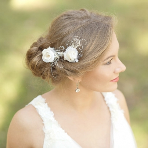 Burlap Wedding Hair Piece Rustic Wedding Hairpiece Vintage Lace Hair for Vintage Wedding Hair Piece