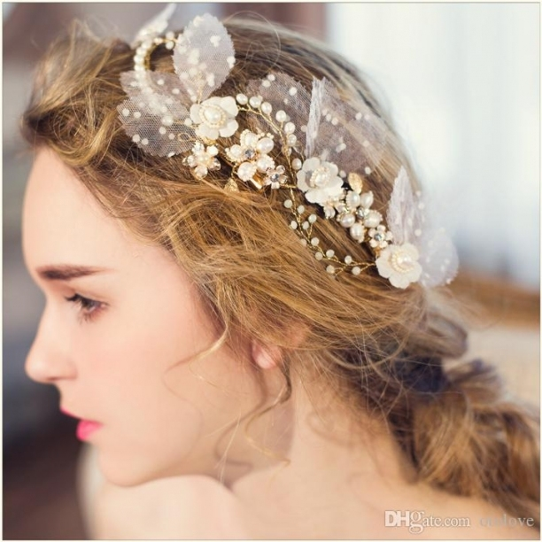 Charm Floral Bridal Hair Clips Beaded Pearl Wedding Headpiece Intended For Wedding Hair Clips And Combs