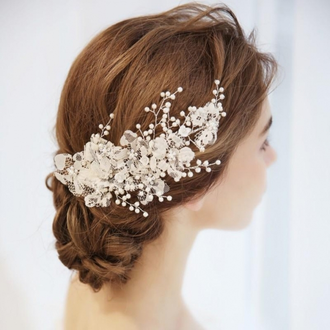 Charming Lace Flower Bridal Barrettes Hair Clip Pearls Wedding Hair throughout Wedding Hair Clips And Combs