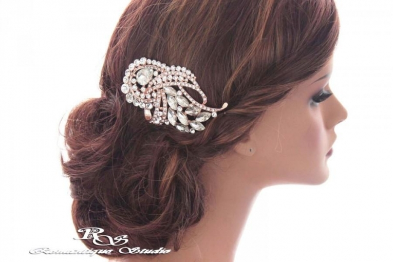 Crystal Bridal Hair Comb, Rose Gold Rhinestone Hair Comb, Crystal Regarding Elegant Vintage Wedding Hair Piece Dt3