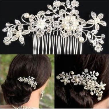 Elegant Wedding Bridal Hair Comb Pearl Crystal Flower Design Hair Pertaining To Wedding Hair Clips And Combs