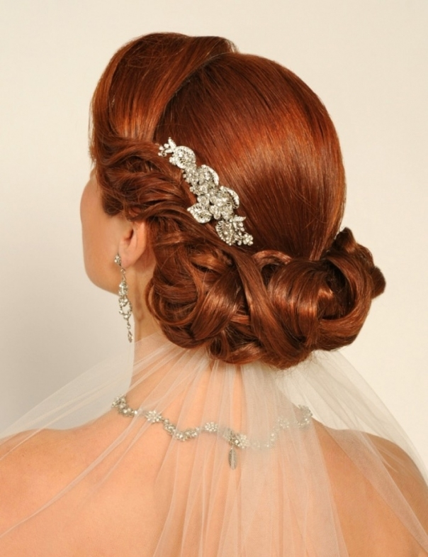 Elegant Wedding Hair Style With Red Hair Veil Down | Hairstyles Throughout Elegant Wedding Hair