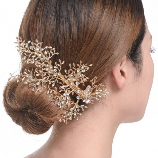 Exquisite Gold Branch Crystal Wedding Tiara Vintage Bridal Hair Clip In New Wedding Hair Clips And Combs Ty4