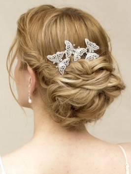 """Flutter"""" Rhinestone Butterfly Bridal Hair Comb 