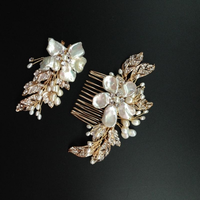 Fresh Water Pearl Bridal Hair Comb Set Rhinestone Beaded Wedding Within New Wedding Hair Clips And Combs Ty4