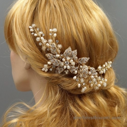 Gold Hair Comb Floral Wedding Hair Comb Crystal Bridal Hair Comb regarding New Wedding Hair Clips And Combs ty4